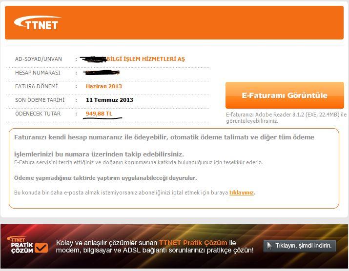 TTnet Sahe E-Fatura Phsihing Saldırısı
