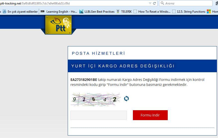 PTT kargo takip virüsü sahte sayfası ptt-tracking.net