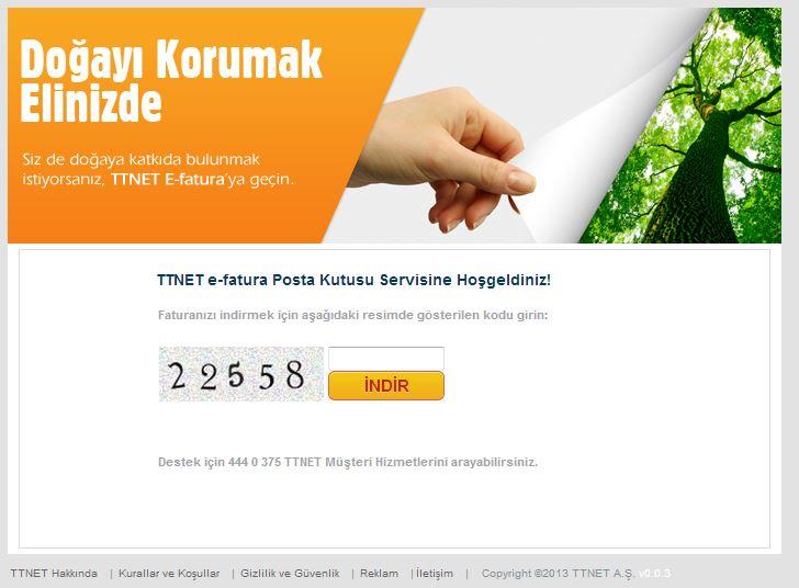 ttnet-online.com sahte e-fatura sayfası resmi