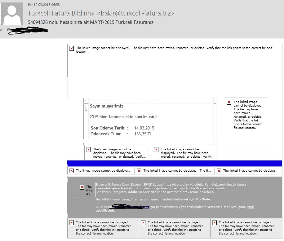 Turkcell Fatura Bildirimi Virüslü Mail