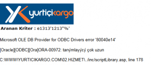 Yurtiçi Kargo SQL Injeciton Exploit